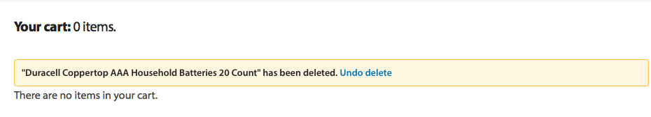 "Walmart notifies me of deleting an item from the cart and provides me with a clear ""undo delete"" action."