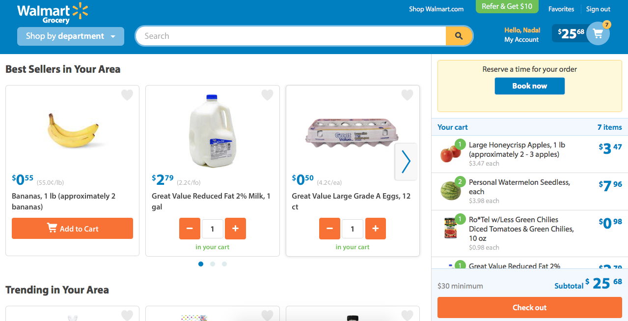 Walmart grocery shopping cart includes product images with quantity always displayed right next to the products which makes it easier to review what I added rather than remembering it.