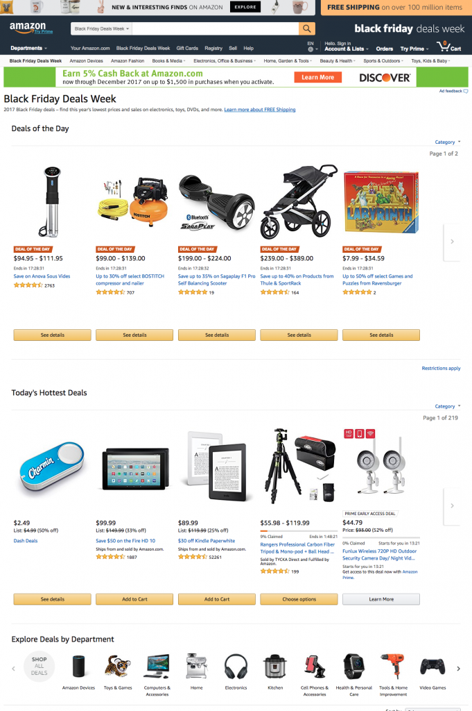 After clicking on the black friday banner, the page displayed include products featured as deals of the day, hottest deals and a list of categories which have deals.